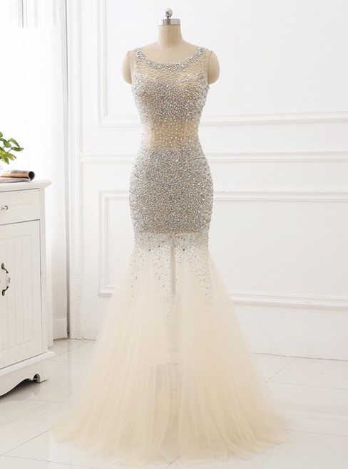 beaded Prom Dresses Mermaid Tulle Scoop Evening Party Dress