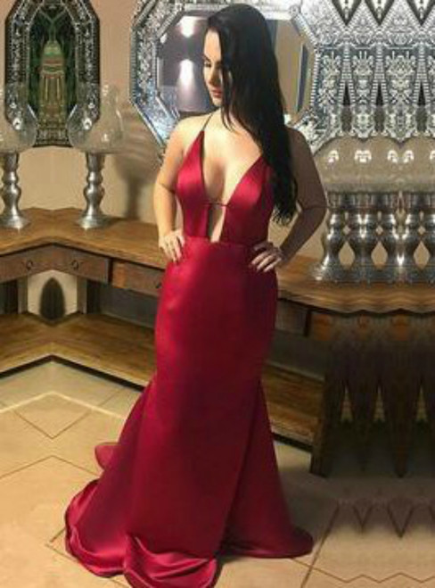 Sexy Backless Deep V-neck Long Evening Party Dress