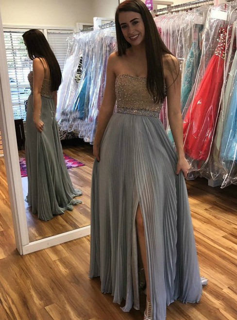 A-line/Princess Beaded  Strapless Long Prom Dresses with Split