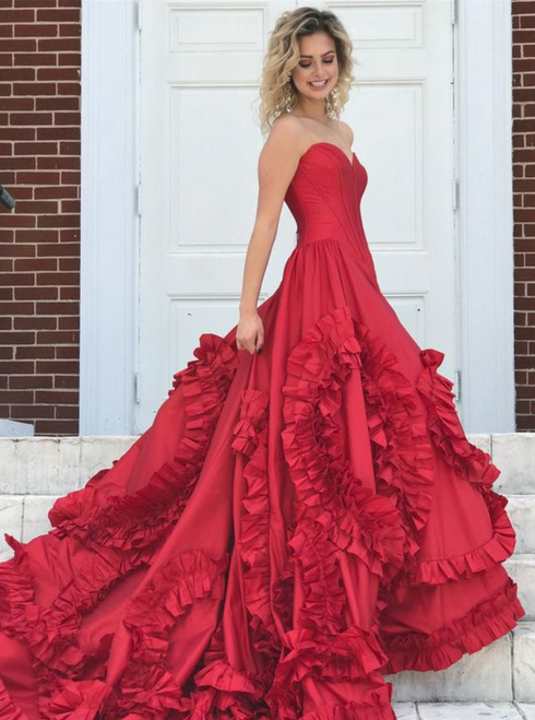 Sweetheart Bodice Corset Ruffles Red Prom Dresses Ball Gowns