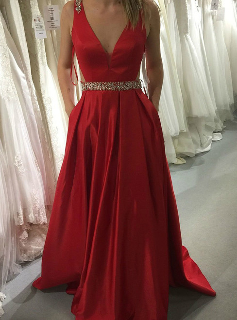 A Line Long Red V Neck Long Satin  Sexy Long Red Beading Prom Dress
