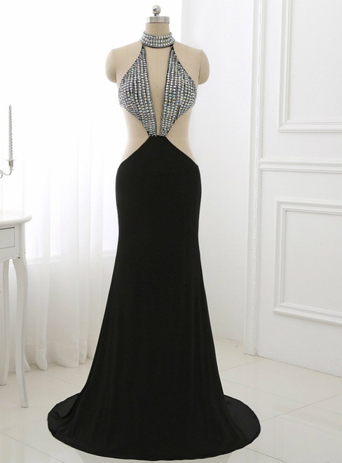 Black Long Prom Dress Illusion Party Gowns High Collar