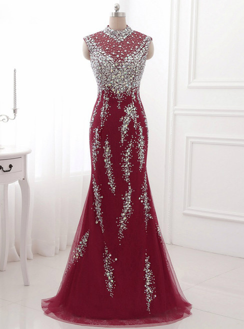 Red Evening Dresses Crystal Long Prom Dress Sexy Illusion