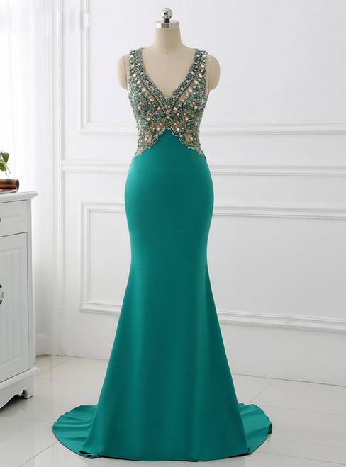 V Neck Mermaid Long Sparkly Beading Formal Evening Dresses 2018