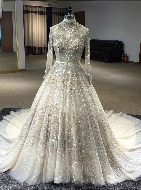 Ball Gowns Long Sleeves High Neck Hand Sewing Beaded Dress