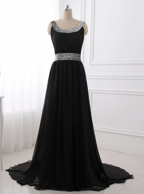 A Line Chiffon Scoop Neck Black Evening Dress Pleat Sequined Waist