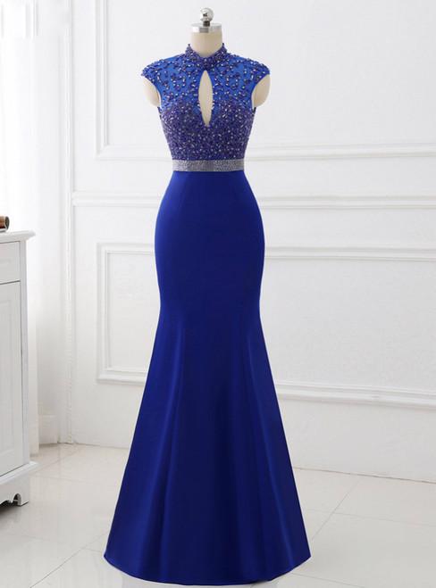 Royal Blue High Collar Sexy Backless Mermaid Prom Dress