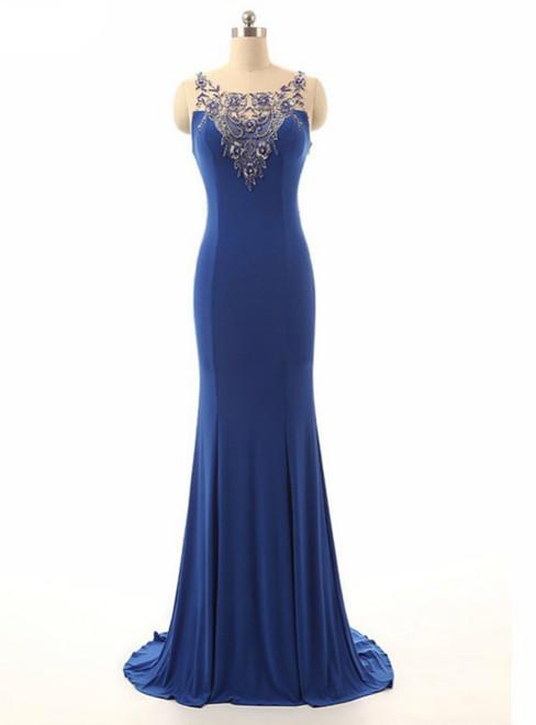 Royal Blue Beading Sheer Neck Mermaid Illusion Dress
