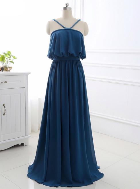 A-Line Sleeveless Open Back Sweep Train Formal Evening Dress