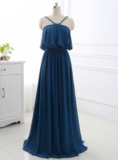A-Line Sleeveless Open Back Sweep Train Formal Evening Dress