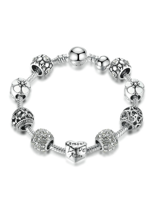 Silver Charm Bracelet & Bangle with Love and Flower Crystal