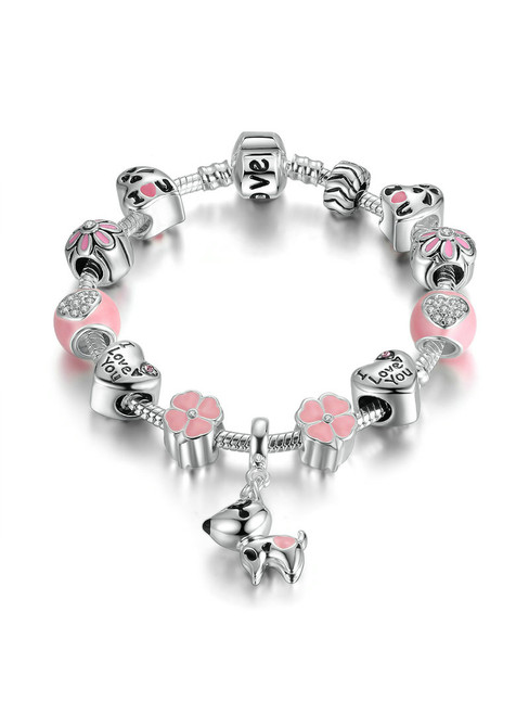 Silver Color Lovely Dog Pink Heart Flower Charms Bracelets