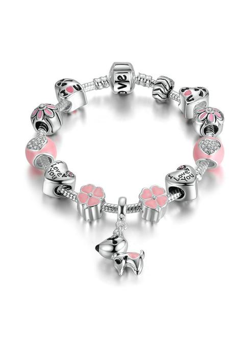 Silver Color Lovely Dog Pink Heart Flower Charms Bracelets