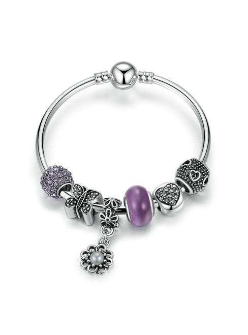 Bangle With Butterfly Heart Flower Charms Bracelets