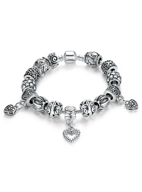 Silver Charm Bracelet & Bangle Silver With Heart