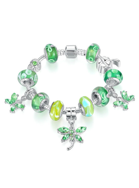 Butterfly Charm Bracelet Bangle For Women With Green