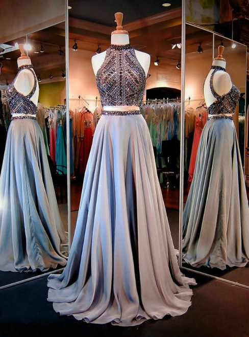 Crystal and Beads Halter Two Piece Backless Long Prom Dresses