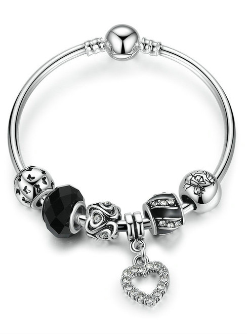 Black Glass Bead & Heart Charms Bangles