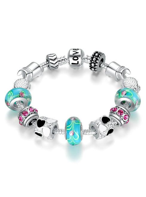 Silver Charm Bracelet Bangle for Women
