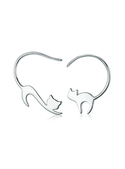 925 Sterling Silver Cute Napping Little Cat Drop Earrings