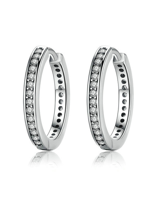 925 Sterling Silver CZ Simple Female Hoop Earrings