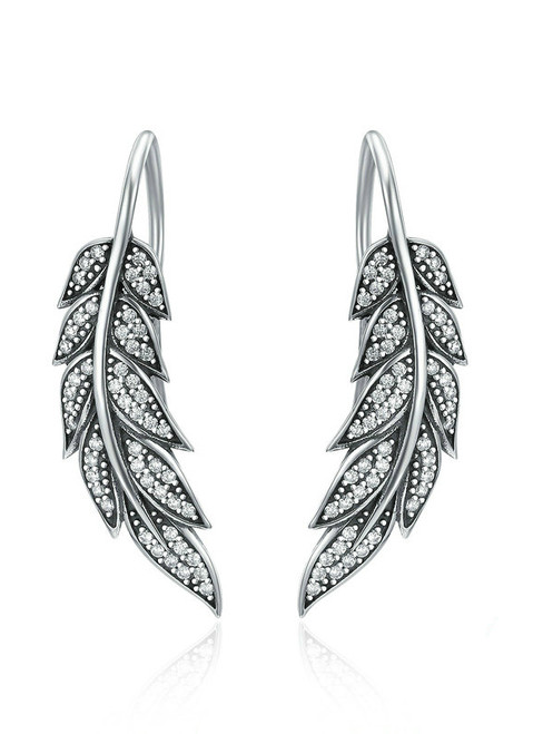 925 Sterling Silver Vintage Feather Wings Long Drop