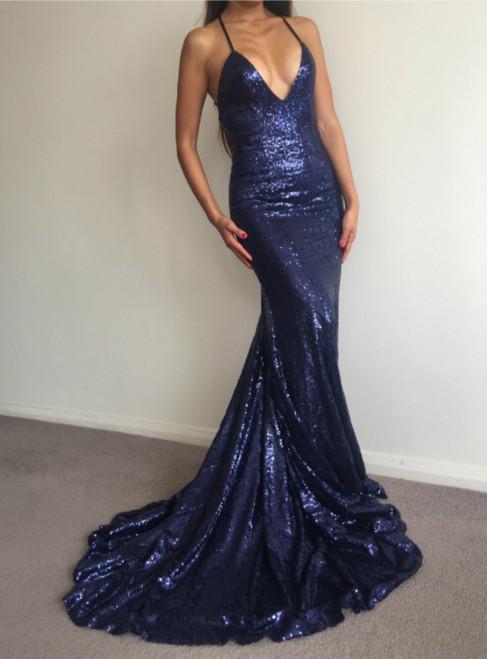 Spaghetti Straps Navy Blue Sequin Evening Dresses