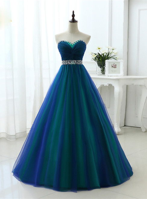 A Line Sexy Sweetheart Soft Tulle Long Prom Dresses With Crystal