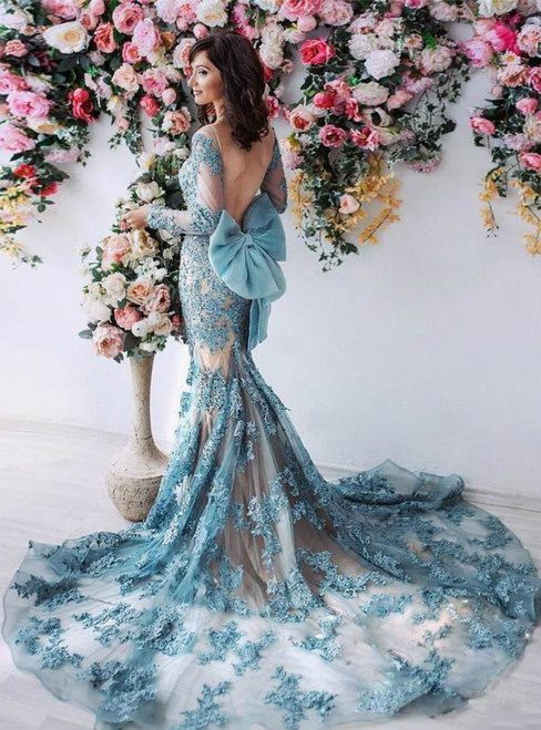 Long Sleeves Lace Appliqued Bow Formal Blue Court Train