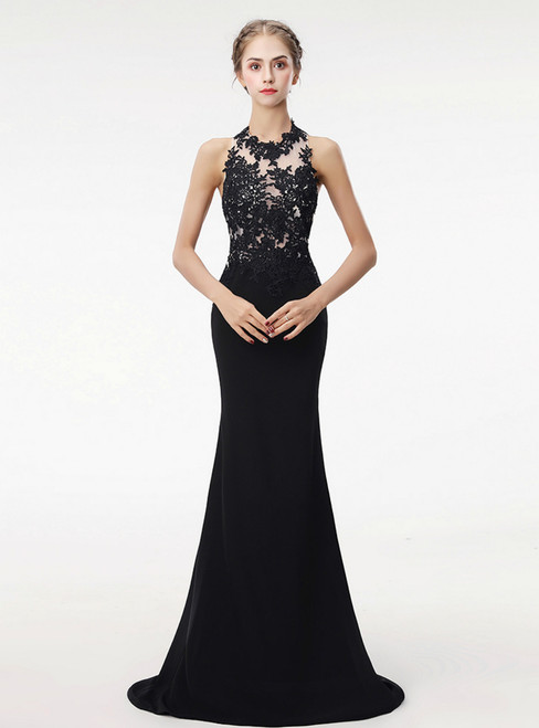 Sexy Backless Long Mermaid Halter Neck Lace Satin Sweep