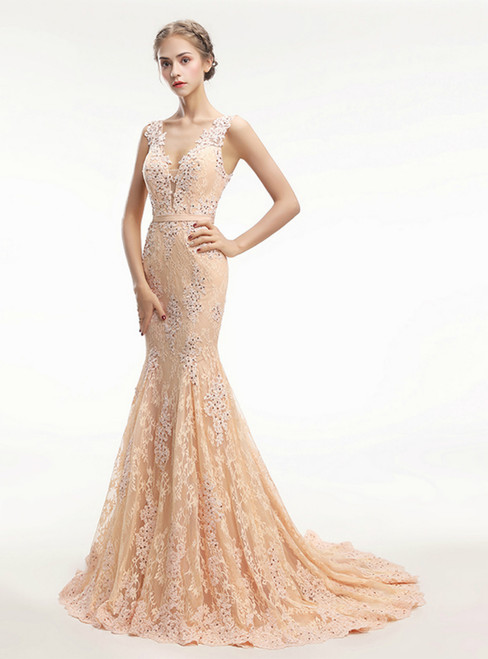 Lace Beaded Elegant See Through Back Formal Evening Dress