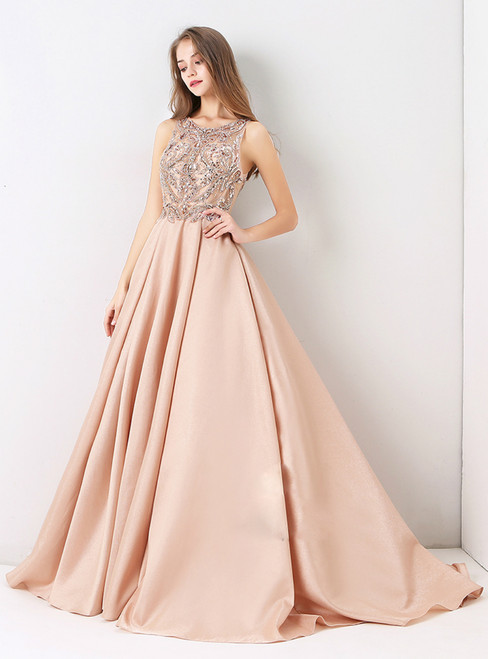 Pink Sexy Formal Long Ball Gown Luxury Beading 2018