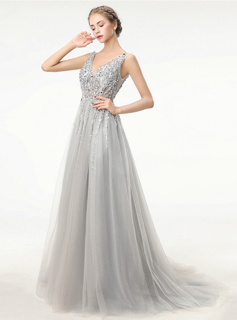 Deep V Neck Backless Bead Crystal Party Gowns Sleeveless