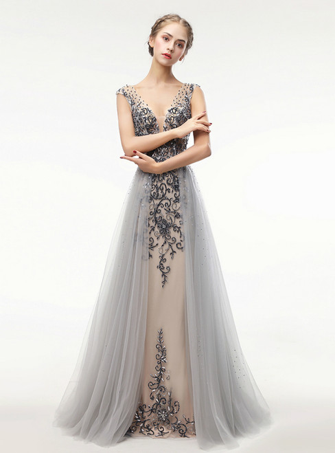 Mermaid V Neck Backless Formal Tulle Long Party Gown