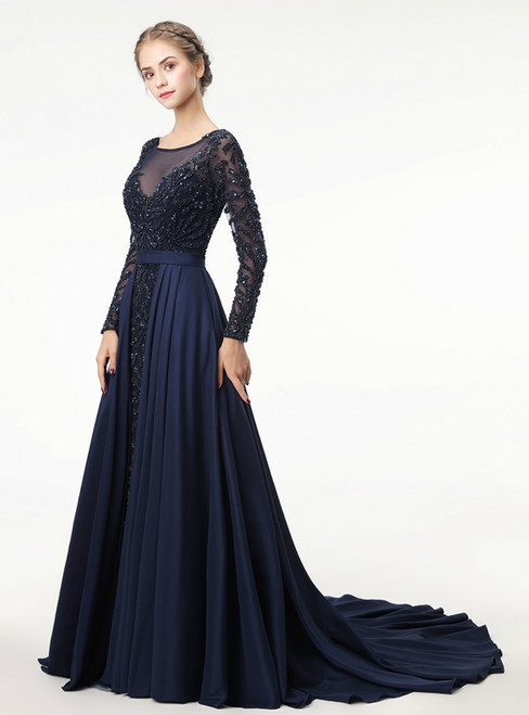 Illusion O-Neck Long Sleeve Blue Party Gowns