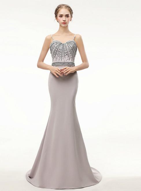 Mermaid Formal Spaghetti Sweetheart Satin Long Prom Dress