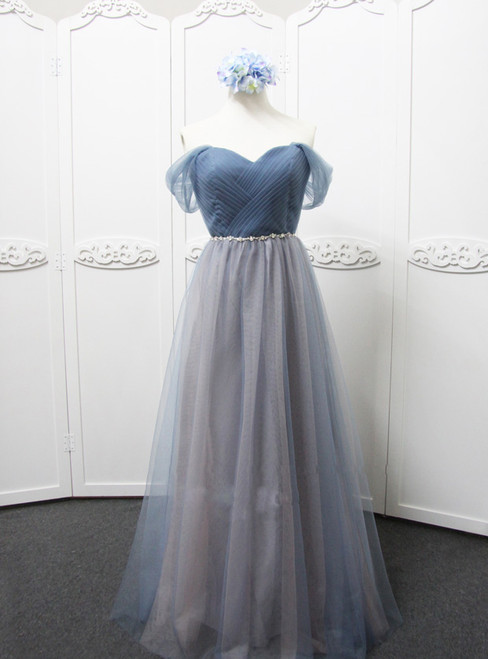 Off The Shoulder Grey Tulle Bridesmaid Dess