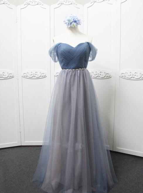 Off The Shoulder Grey Tulle Bridesmaid Dess