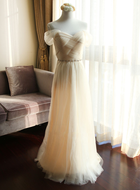 In Stock:Ship in 48 hours Off The Shoulder Tulle Bridesmaid Dress