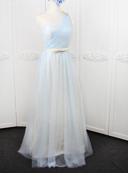 In Stock:Ship in 48 hours One Shoulder Tulle With Bow Bridesmaid Dress