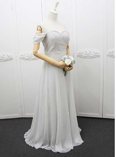 In Stock:Ship in 48 hours Off The Shoulder Chiffon Gray Bridesmaid Dress