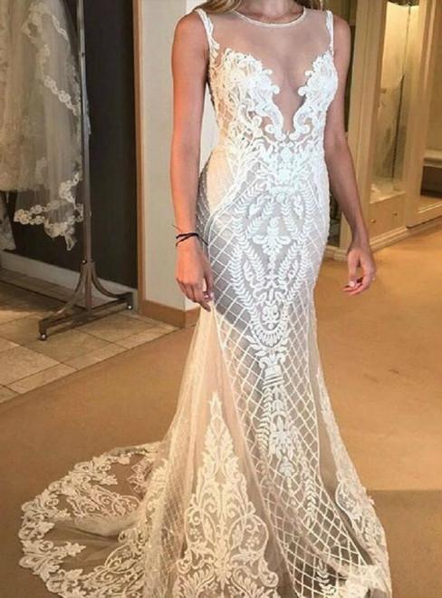Sexy Mermaid Lace Sleeveless Floor Length Wedding Dress