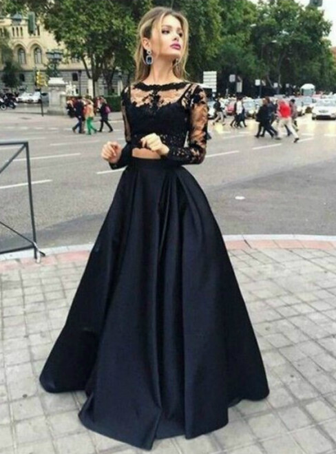Black Lace Two Piece Long Sleeve Prom Dress 2018
