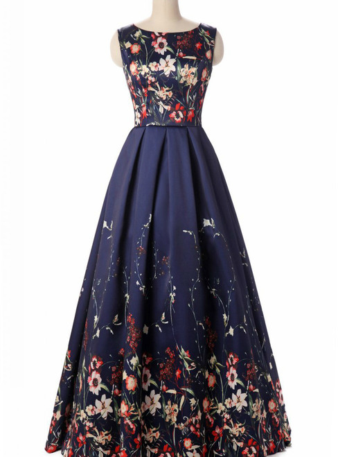 In Stock:Ship in 48 hours A-Line Print Prom Dress