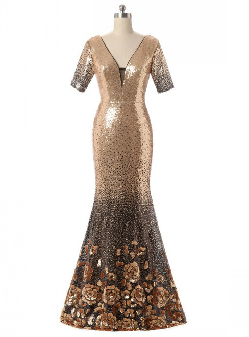 In Stock:Ship in 48 hours Mermaid Short Sleeve Gold Prom Dress