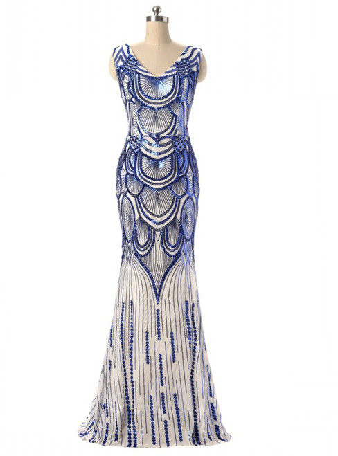 In Stock:Ship in 48 hours Mermaid Blue Sequins V-neck Prom Dress