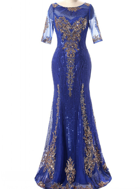 In Stock:Ship in 48 hours Mermaid Blue Appliques Prom Dress