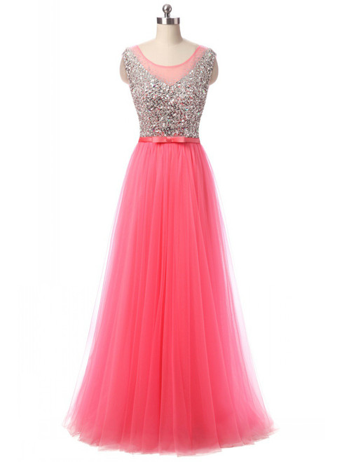 In Stock:Ship in 48 hours  A-Line Pink Tulle Prom Dress
