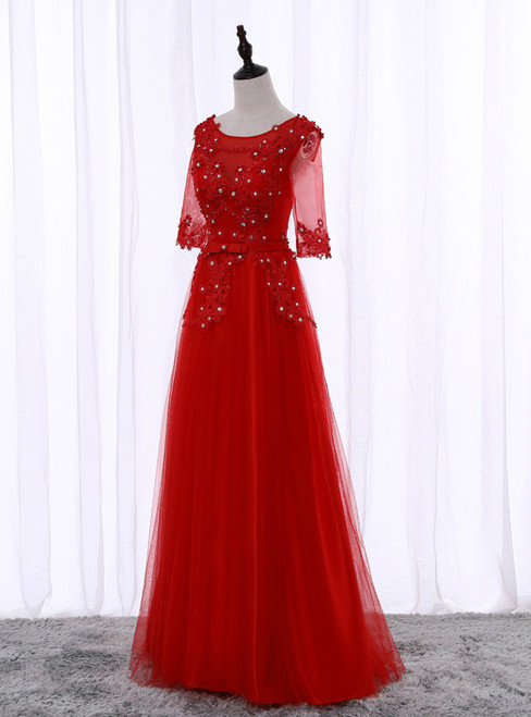 In Stock:Ship in 48 hours  A-Line Red Half Sleeve Prom Dress