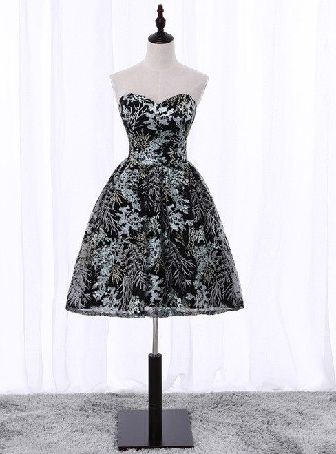 In Stock:Ship in 48 hours Sweetheart Black Print Homecoming Dress